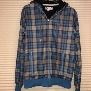 DC Fleece-Lined Men's Hooded Plaid Zip Up Jacket